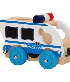 Carro de Polícia em Madeira branco