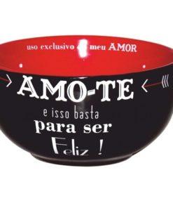 """Taça de Cereais Preta """"Amo-te"""""""