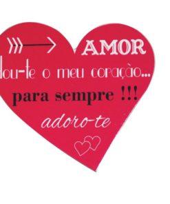 """Placa em Coração """"Amor"""" Vermelha"""