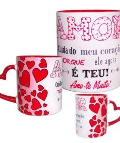 """Caneca """"Amor"""" Branca c/ Asa de Coração"""