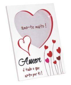 """Moldura """"Amor"""" c/ Flores em Coração"""
