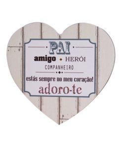 """Placa Em Coração """"Pai Amigo Herói"""""""