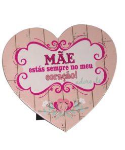 """Placa Coração """"Mãe Sempre no Meu Coração"""""""