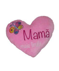 """Almofada Coração Rosa 25cm """"Mamã"""""""