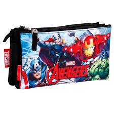 "Estojo Avengers Retangular Triplo ""Assemble"""