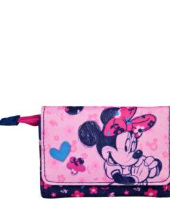 Carteira Minnie Rosa e Azul c/ Flores