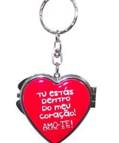 Porta Chaves Coração Namorados c/ Espelho Verm