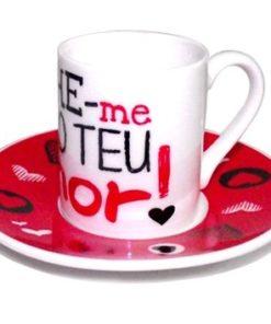Conjunto de Café Namorados Corações