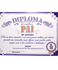 "Diploma ""Melhor Pai do Mundo"" Azul e Laranja"