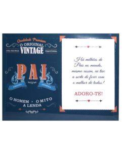 """Moldura Vidro Pai """"Vintage"""" Azul e Laranja"""