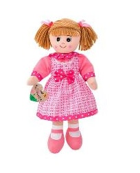 Boneca de Pano 50cm c/ Vestido Rosa Xadrez