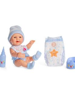 Boneco Bebé Pipi Azul Fralda e Biberon