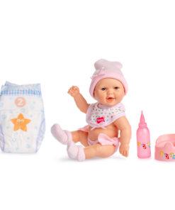 Boneco Bebé Pipi Rosa Fralda e Biberon