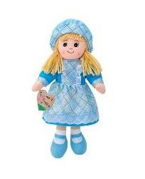 Boneca de Pano 50cm c/ Vestido Azul e Chapéu