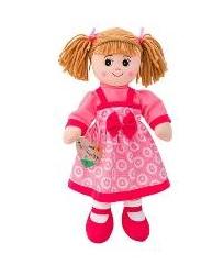 Boneca de Pano 50cm c/ Vestido Rosa c/ Círculos