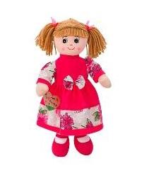 Boneca de Pano 50cm c/ Vestido Rosa Barra Flores