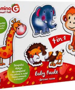 Puzzle de Bebé Animais c/ Leão 4 em 1