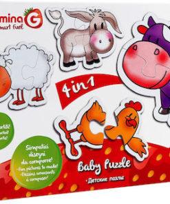 Puzzle de Bebé Animais c/ Vaquinha 4 em 1