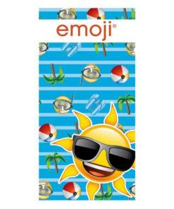 Toalha de Praia Emoji Sol Azul Riscas