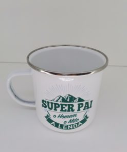 Caneca Super Pai H&H de Esmalte