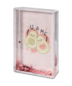 Moldura Abacate Rosa com Glitter