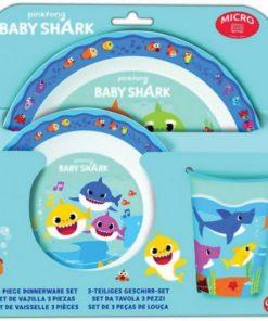 Conjunto de Refeição Baby Shark 3 Peças. Conjunto de Refeição Baby Shark 3 Peças, prato, copo e taça em plástico resistente e além disso podem ir ao microondas. Baby Shark