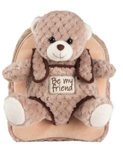 "Mochila Beige Be My Friend ""Urso Milly"""
