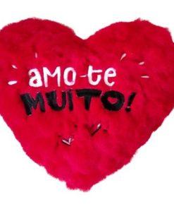 """Almofada em Coração """"Amo-te Muito!"""" 40cm"""