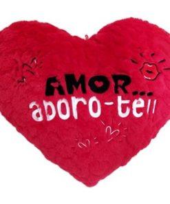 """Almofada em Coração """"Amor... Adoro-te"""" 25cm"""