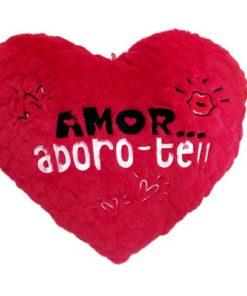 """Almofada em Coração """"Amor... Adoro-te"""" 40cm"""