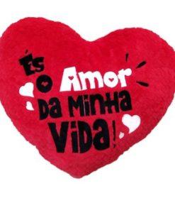 """Almofada em Coração """"Amor da Minha Vida"""" 25cm"""