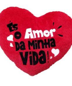 """Almofada em Coração """"Amor da Minha Vida"""" 40cm"""