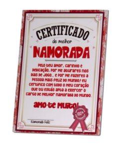Certificado de Melhor Namorada Amo-te Muito