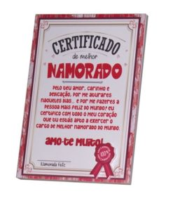 Certificado de Melhor Namorado Amo-te Muito