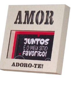 "Moldura Quadrada c/ Luz ""Amor Adoro-te"""