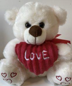 """Peluche Urso Branco c/ coração 20cm """"Love"""""""