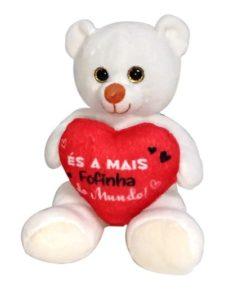 """Peluche Urso Branco """"És a Mais Fofinha"""" 15cm"""