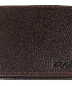 Carteira Zippo Castanha c/ Costura Vermelha