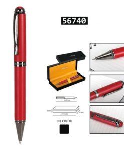 Esferográfica Vermelha e Prateada Perona c/ Caixa