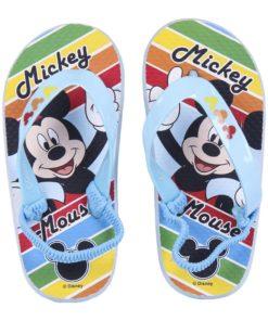 Chinelos Mickey Azuis às Riscas Coloridas