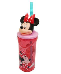 Copo Palhinha Minnie Tampa 3D Vermelho e Rosa
