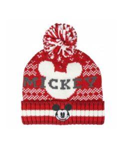 Gorro de Lã Mickey Vermelho e branco c Pompom