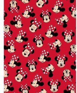 Manta Minnie de Flanela Vermelha com Caras