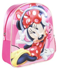 Mochila Minnie Infantil 3D Rosa com Auscutadores