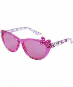 Óculos de Sol Rosa com Purpurinas e Laço Minnie