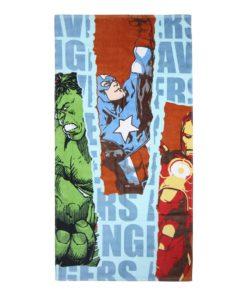 Toalha de Praia Azul c/ 3 personagens Avengers.