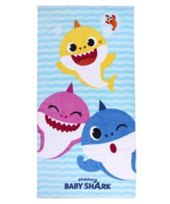 Toalha de Praia Baby Shark Azul com 3 Tubarões