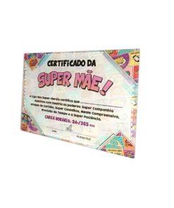Certificado em Vidro Quadrinhos BD da Super Mãe