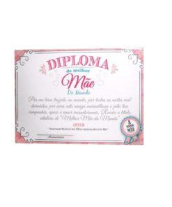 """Diploma de """"Melhor Mãe do Mundo"""" Branco e Rosa"""