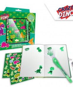 Diário cEsferográfica Mágica Verde Crazy Dino